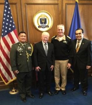 In this 2015 photo, Col. Orlando M. Suarez (far left) is with then Ambassador Jose Cuisia, Jr.,  Rear Admiral Philip Gardner Howe III of the U.S. Naval War College and then Consul General Mario De Leon, Jr.