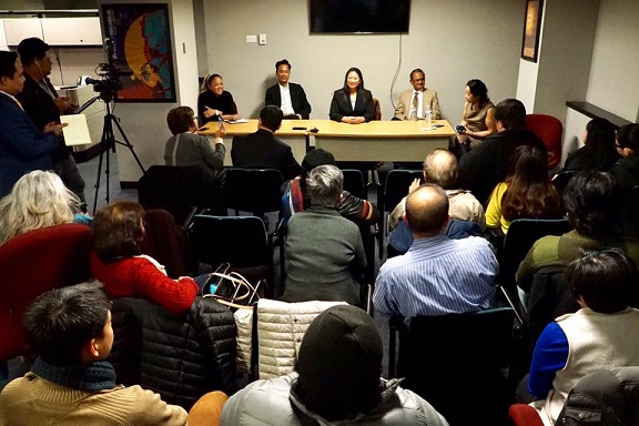 The 'Filipino Americans in Politics' panel (from left) moderator Lenn Almadin Thornhill of Fios 1 News, panelists Arvind Swamy, Cheryl Quinio-Blodgett, and Salvador Deauna, and moderator Cristina DC Pastor of The FilAm.