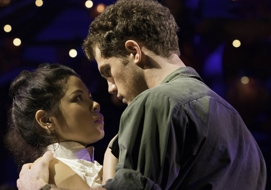 Eva Noblezada and Alistair Brammer as lovers Kim and Chris torn apart by conflict. Photos by Matthew Murphy