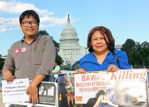 Ellecer Carlos (left) of the I-Defend PH coalition and retired U.S. Army chaplain Georgette Beltran of Maryland have come out in support of the Cardin-Rubio bill. Photo by Eric Lachica