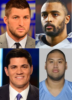 FilAms who have played in the NFL. Clockwise from top left Tim Tebow, Doug Baldwin, Eugene Amano, and Tedy Bruschi.
