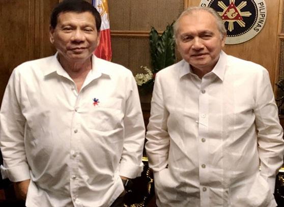 President Duterte and Ambassador-Designate Jose Manuel 'Babe' Romualdez (right). Photo: Philippine Star