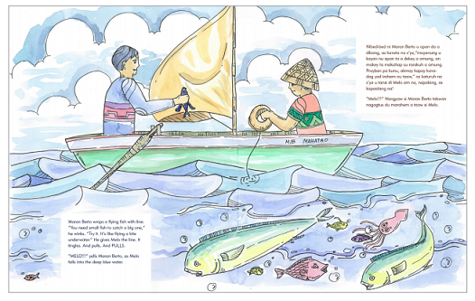 A page from 'Melo the Umang-Boy' written in Ivatan-English.