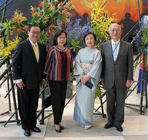 Philippine Ambassador Teodoro Locsin Jr., Japanese Ambassador Koro Bessho and their spouses.