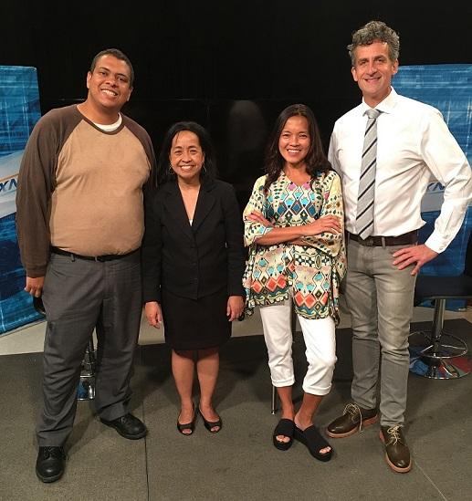 BronxNet executives Michael Max Knobbe (right) and Bernardo Moronta welcome Makilala co-hosts Cristina DC Pastor and Jen Furer to the studio at Lehman College.