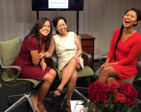 Makilala co-hosts and co-producers (from left) Jen Furer, Cristina DC Pastor, and Rachelle Ocampo share a laugh before the camera goes live.
