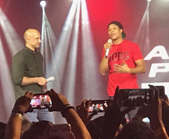 Actor Ray Fisher (in red), who plays the superhero Cyborg in 'Justice League,' being interviewed by radio/TV host KC Montero.