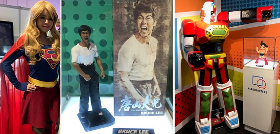 Some attractions from left: Supergirl cosplayer, Bruce Lee doll, and Japanese anime robot hero