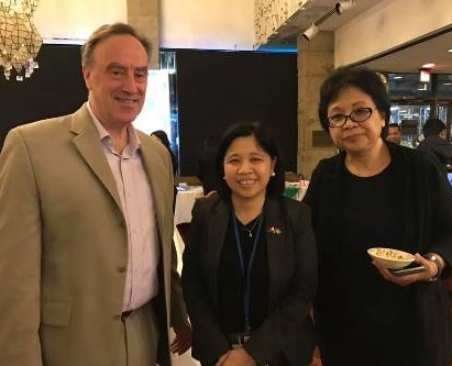 Consul General Tess Dizon-De Vega (center) with New York Times Deputy Editor Nick Fox and Amy Besa of Purple Yam: 'Philippine food is not fusion.'