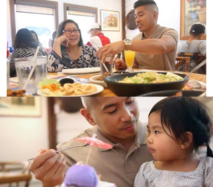 With family enjoying a meal at Max's Of Manila in Glendale, California. Here, Thomas and niece Annalynn share a Halo-Halo shake.