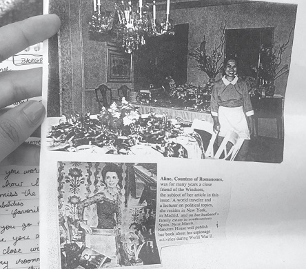 Reyas both cooked and decorated for the Countess of Romanones's evening cocktail parties approximately 30 years ago. Reyas keeps photos and news clippings in her bag. Photo by Mariel Padilla