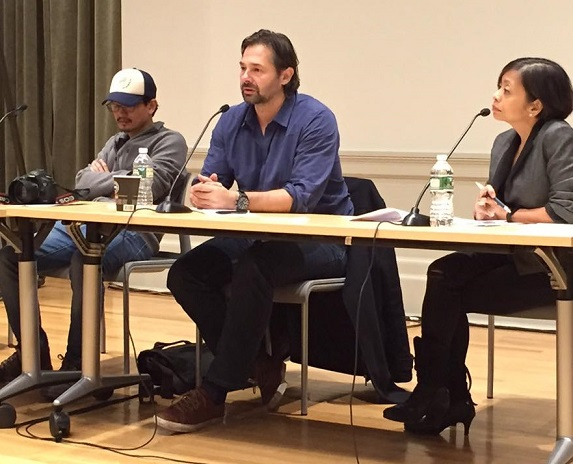 Speaking at the October 18 forum 'Watching the Philippines, Reporting Duterte,' held at the Columbia University, from left, photojournalists Ricky Lerma and Daniel Berehulak, and Sheila Coronel, dean at the Columbia School of Journalism. Photo by Rita Raagas de Ramos