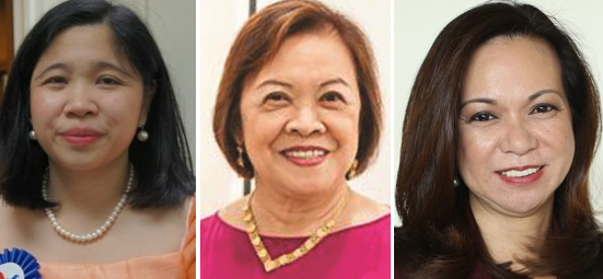 Among those nominated for outstanding alumni are, from left: Consul General Theresa Dizon-De Vega, artist Lenore Lim, and immigration lawyer Lourdes Tancinco