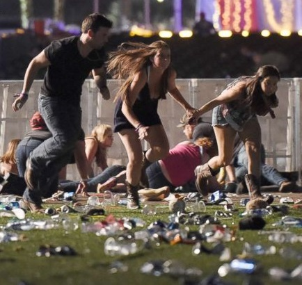 Chaos erupts at country music concert.
