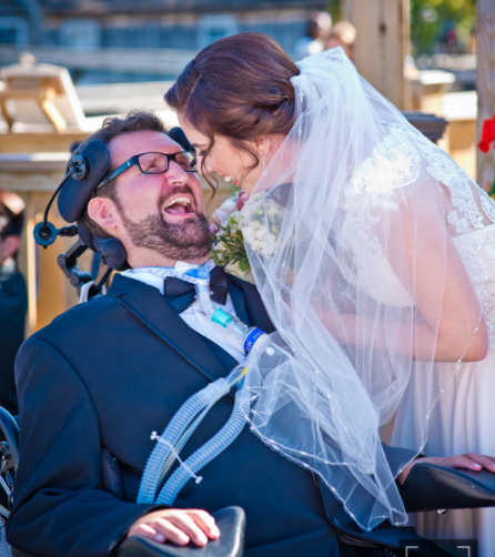 Beaming newlyweds Brian Malast and Julie Herb
