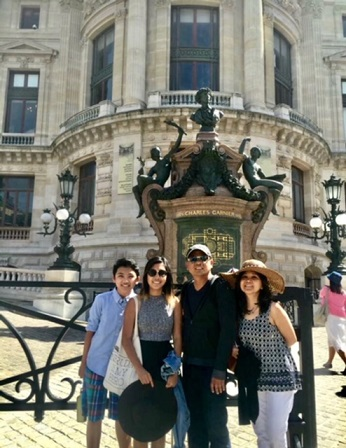 Visiting Rome with wife Imelda and their children
