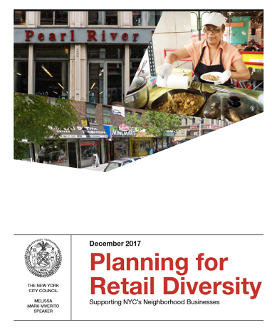 The New York City Council under Speaker Melissa Mark-Viverito examined the 'threats' to the retail and restaurant sectors from 2016 to 2017 and offers policy recommendations.