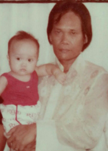 At 1 year old with CPA father, Jose Magante, his role model.