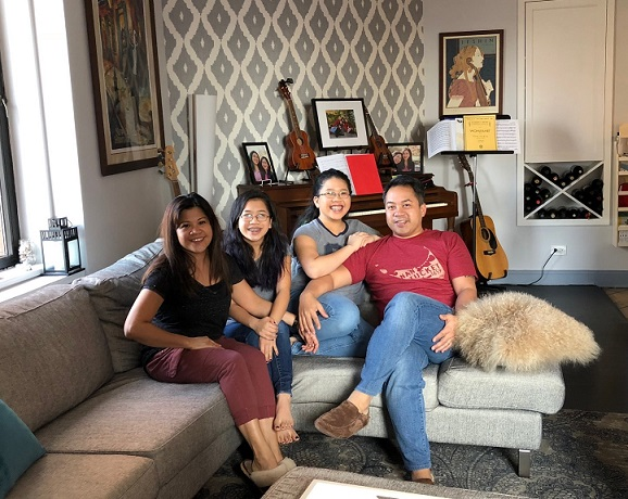 The Villazors at home. From left, Rose, Reese, Riley and Rodney. The FilAm Photo