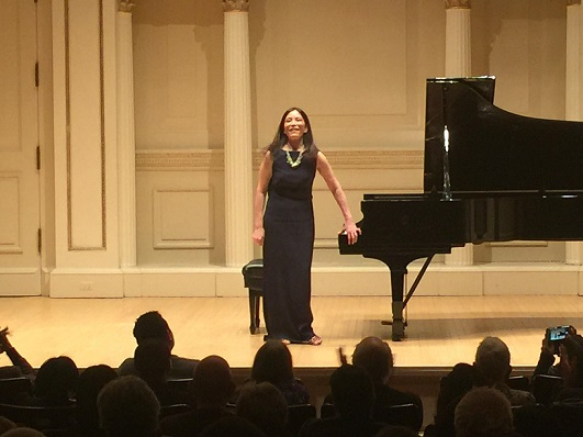 Her well received concert at Carnegie Hall. Photo by Edwin Josue