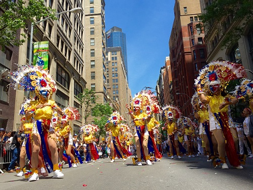 The annual Philippine Independence Day parade on Madison Avenue is noted for its colorful dances and costumes. Photo by Elton Lugay