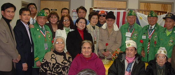 Red at a community gathering attended by then Consul Zaldy Patron (second from left) and Linda Mayo (standing at center), founder of the Pan American Concerned Citizens Action League, an organization that advocated for Filipino veterans.