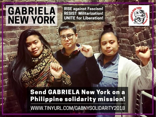 GABRIELA activists Jamy Drapeza, Dinah Anderson, and Julie Jamora crowdfund for  their immersion trip.
