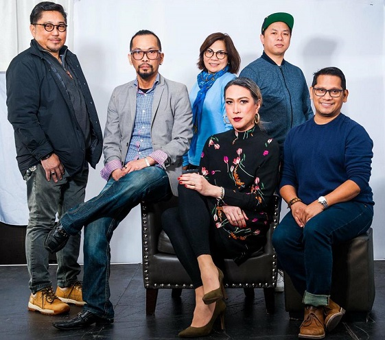 The team behind Miss Gorg 2018: Standing from left:  producer Robert Mendoza, pageant director Usher Turek,  producer Melissa Mendoza, and  stage director Dennis Zerna Sy. Seated: performer Toni Gado and founder-organizer Elton Lugay.  Photo: Toni Santos Gado.