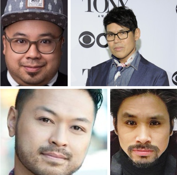 Love and condolences from the Filipino theatre community. From top left clockwise: Don Darryl Rivera, Clint Ramos, Angelo Soriano, and Billy Bustamante.