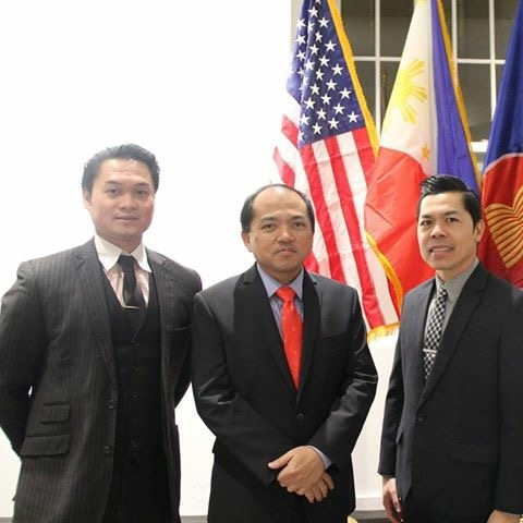 Ivan, at left, with the Economic Mission team at the Philippine Embassy led by Economic Minister JV Chan-Gonzaga (center), a career diplomat, and economic assistant Mylo Fausto.