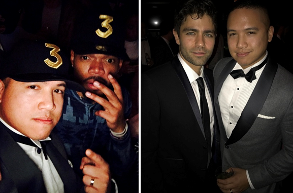 With Chance The Rapper and 'Entourage' star Adrian Grenier. Below, with singer and songwriter Lorde