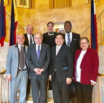 Philippine Ambassador Jose Manuel Romualdez (2nd from left) welcomes to D.C. the Explore team. Front row from left, Jerry Sibal, president of JS Projections Inc., Edwin Josue, co-organizer; and Marilyn Abalos, Project Management and PR consultant. Back row from left, Hank Hendrickson, executive director of the US-Philippines Society; Karen Gamba, Business Development consultant; and Carl Nelson, Special Events consultant.