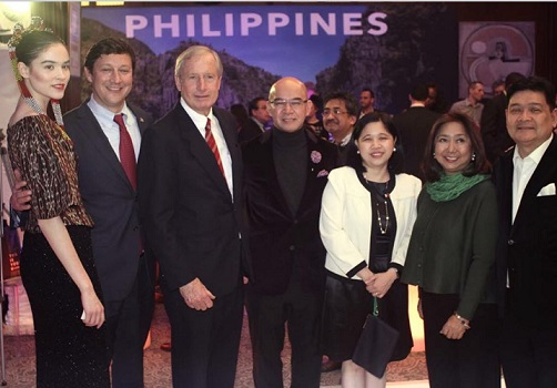 At the Explore launch at the Philippine Consulate in NYC: From left, model Keri Dundon; David Turley, representing the Constituency Affairs Office of New York Gov. Andrew Cuomo;  Hank Hendrickson of the US-Philippines Society; Jerry Sibal; Consul General Theresa Dizon-De Vega; Tourism Attaché Susan del Mundo; and Edwin Josue.