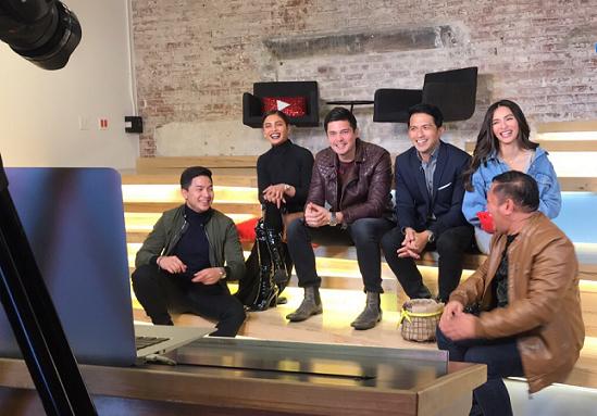 Kapuso stars Dennis Trillo, Jennylyn Mercado, Lovi Poe, Alden Richards, Betong Sumaya, and Dingdong Dantes at YouTube Space in NYC.