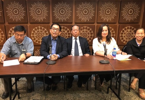 PIDCI officials, from left: Vice President Rely Manacay, President Antero Martinez, lawyer Manuel Quintal, board member Jojo Paredes, and former president Joji Jalandoni, who serves in the Council of Advisers.  The FilAm Photo