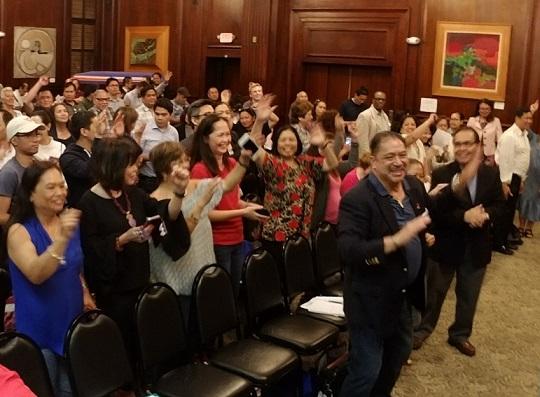 A joyous mood during the May 30 PIDCI community meeting. Photos by John Alberto