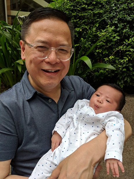 With first grandchild 2-month-old Charles Patrick.