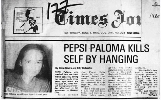 A newspaper coverage of Pepsi Paloma's 1985 death by suicide