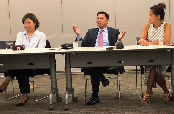 Immigration lawyers Cristina Godinez and Arvin Amatorio speak at the Kapihan forum of the Fil-Am Press Club. At far right is moderator Jen Furer of Makilala TV