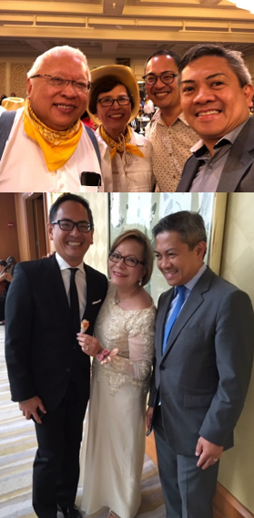 Victor and husband Ariel Porcalla with friends and benefactors (top) Benny and Anita Jongco, and (below) Vivian Talambiras Cruz.
