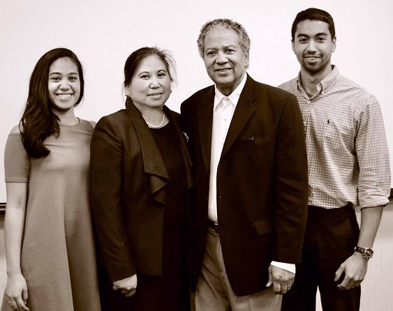 With her family, husband Floyd Owens, and children Michael and Ayana