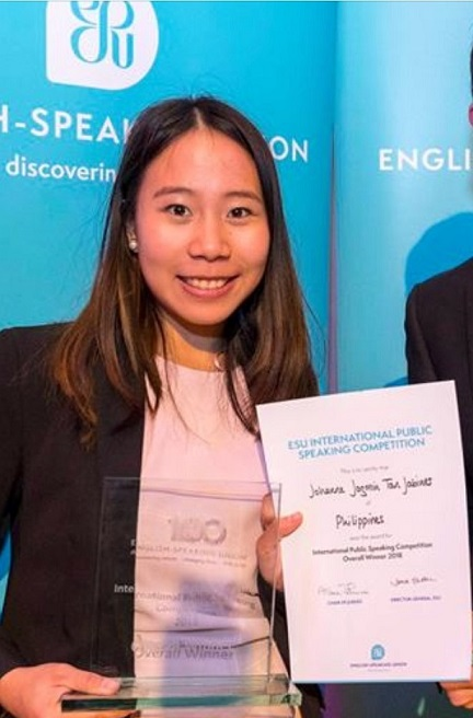 The third Filipino to win the English-Speaking Union - International Public Speaking Competition