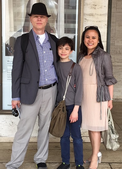 The author with husband Tony Kelso and their son Emil, who is 11 in this photo.