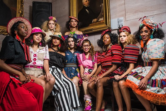 Models wearing Tracy's clothing and hats during Fashion Week Brooklyn, where her Pinoy Pop Life Spring-Summer 2019 collection was the closing segment.
