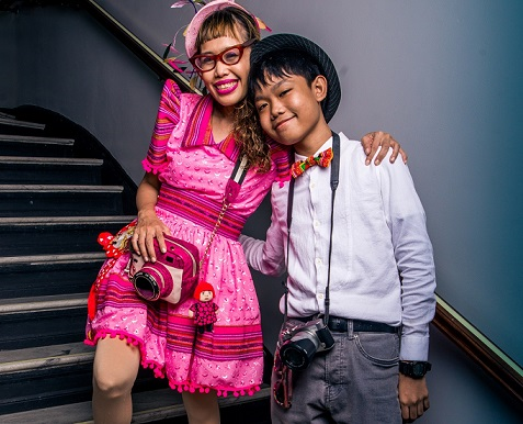 With her son Atreyu.