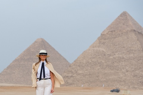 Touring the Giza pyramids in Egypt.