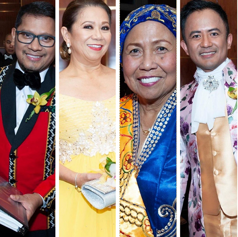 Dressed for a night out, from left: Tribal fashion for TOFA founder Elton Lugay, heirloom terno for Joji Juele Jalandoni, a Tausug formal gown for Dr. Roseminda Santee, and Dr. Allan Mendez in a whimsical satin suit.