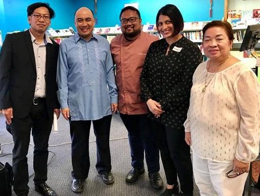 The author (in blue barong) with, from left, community organizer Carlo Espejo, Chef Leo Fernandez, Member of Parliament Priyanca Radhakrishnan, and Mrs. Linda Gaa.