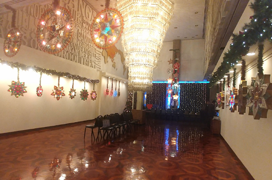 The lobby is adorned with lanterns from Pampanga.