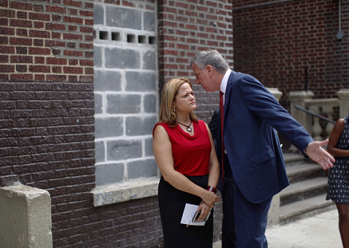 The former Council Speaker with Mayor Bill de Blasio visited a Bronx affordable housing building in 2015. Photo by  William Alatriste for the New York City Council